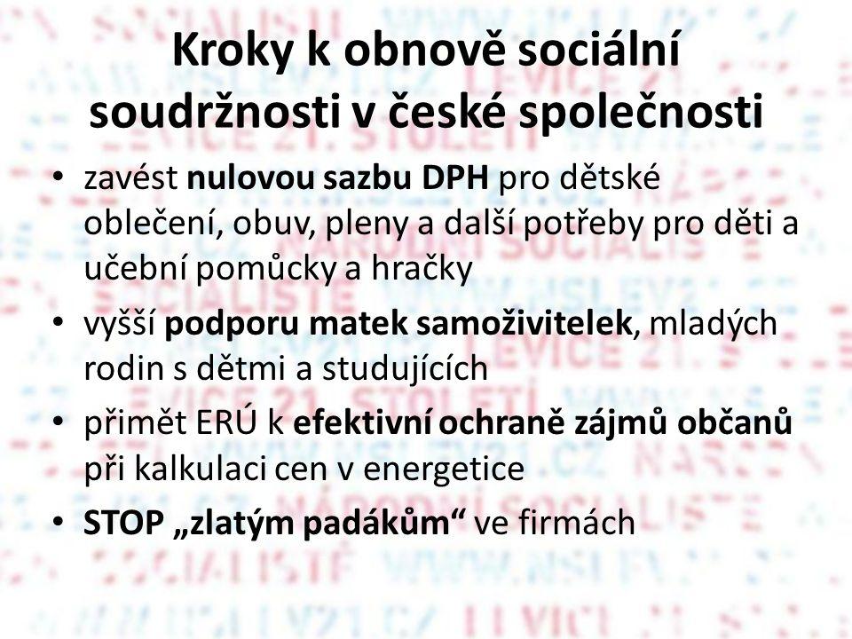"""Kroky k obnově sociální soudržnosti v české společnosti • zavést nulovou sazbu DPH pro dětské oblečení, obuv, pleny a další potřeby pro děti a učební pomůcky a hračky • vyšší podporu matek samoživitelek, mladých rodin s dětmi a studujících • přimět ERÚ k efektivní ochraně zájmů občanů při kalkulaci cen v energetice • STOP """"zlatým padákům ve firmách"""