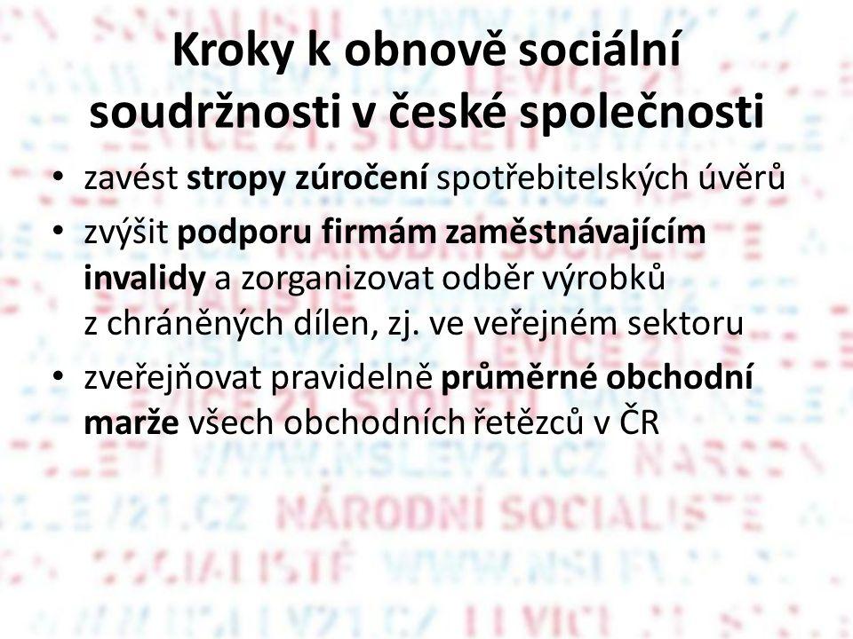 Kroky k obnově sociální soudržnosti v české společnosti • zavést stropy zúročení spotřebitelských úvěrů • zvýšit podporu firmám zaměstnávajícím invalidy a zorganizovat odběr výrobků z chráněných dílen, zj.