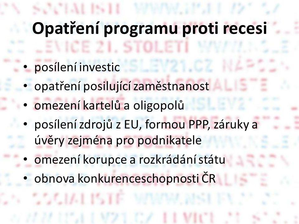 Opatření programu proti recesi • posílení investic • opatření posilující zaměstnanost • omezení kartelů a oligopolů • posílení zdrojů z EU, formou PPP, záruky a úvěry zejména pro podnikatele • omezení korupce a rozkrádání státu • obnova konkurenceschopnosti ČR