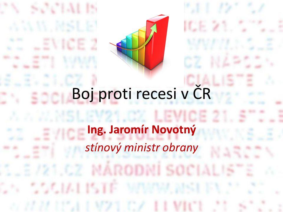 Boj proti recesi v ČR Ing. Jaromír Novotný stínový ministr obrany
