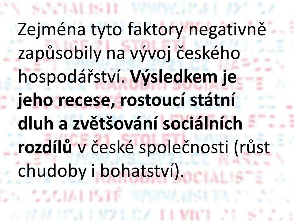 Zejména tyto faktory negativně zapůsobily na vývoj českého hospodářství.