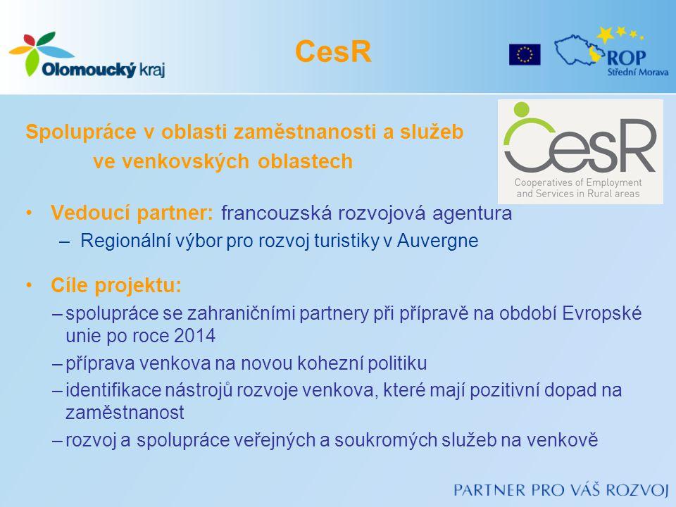 Spolupráce v oblasti zaměstnanosti a služeb ve venkovských oblastech •Vedoucí partner: francouzská rozvojová agentura –Regionální výbor pro rozvoj turistiky v Auvergne •Cíle projektu: –spolupráce se zahraničními partnery při přípravě na období Evropské unie po roce 2014 –příprava venkova na novou kohezní politiku –identifikace nástrojů rozvoje venkova, které mají pozitivní dopad na zaměstnanost –rozvoj a spolupráce veřejných a soukromých služeb na venkově CesR