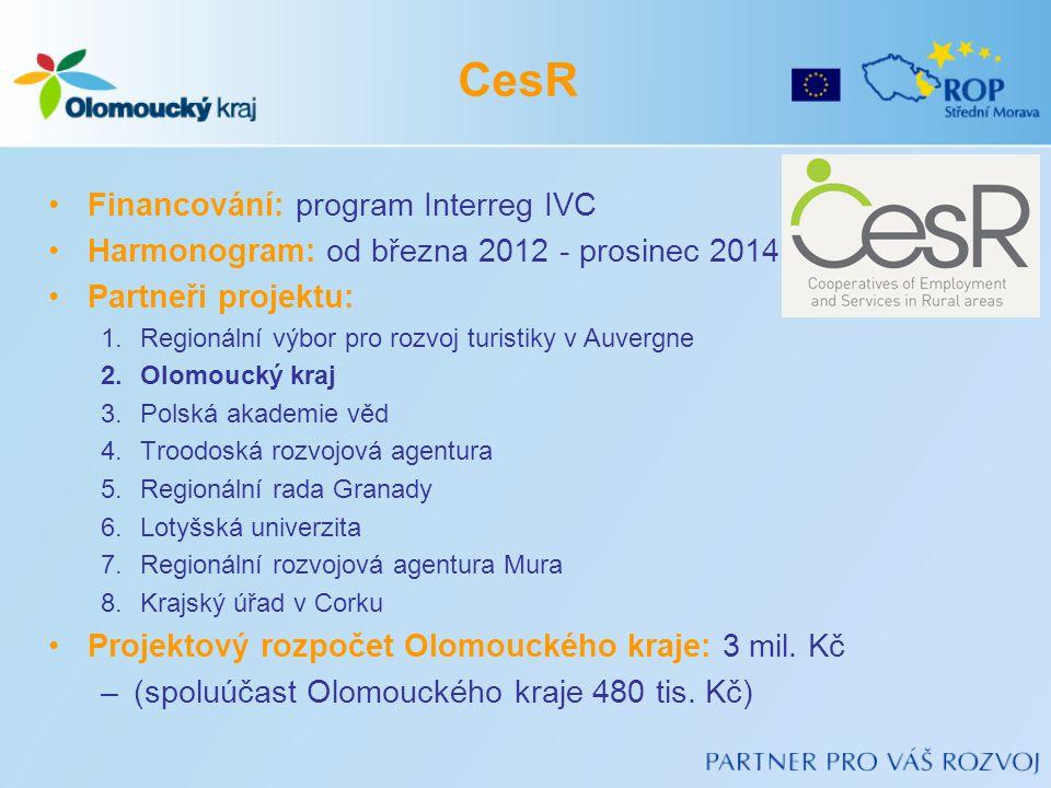 •Financování: program Interreg IVC •Harmonogram: od března 2012 - prosinec 2014 •Partneři projektu: 1.Regionální výbor pro rozvoj turistiky v Auvergne