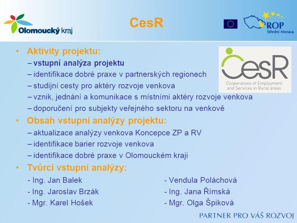 •Aktivity projektu: –vstupní analýza projektu –identifikace dobré praxe v partnerských regionech –studijní cesty pro aktéry rozvoje venkova –vznik, jednání a komunikace s místními aktéry rozvoje venkova –doporučení pro subjekty veřejného sektoru na venkově •Obsah vstupní analýzy projektu: –aktualizace analýzy venkova Koncepce ZP a RV –identifikace barier rozvoje venkova –identifikace dobré praxe v Olomouckém kraji •Tvůrci vstupní analýzy: - Ing.