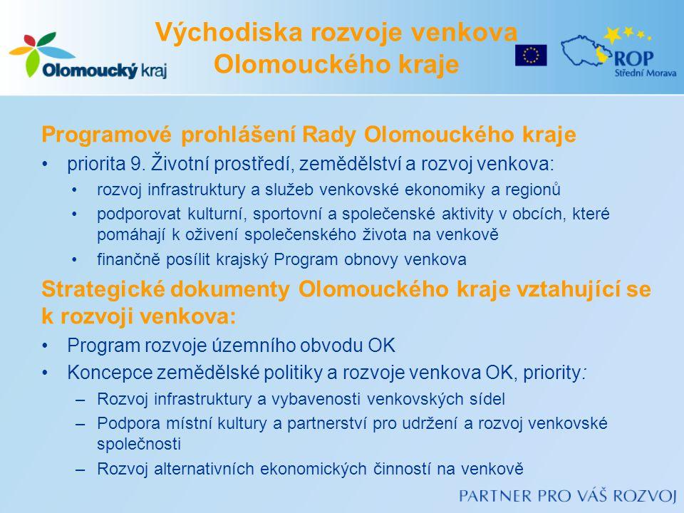 Východiska rozvoje venkova Olomouckého kraje Programové prohlášení Rady Olomouckého kraje •priorita 9. Životní prostředí, zemědělství a rozvoj venkova