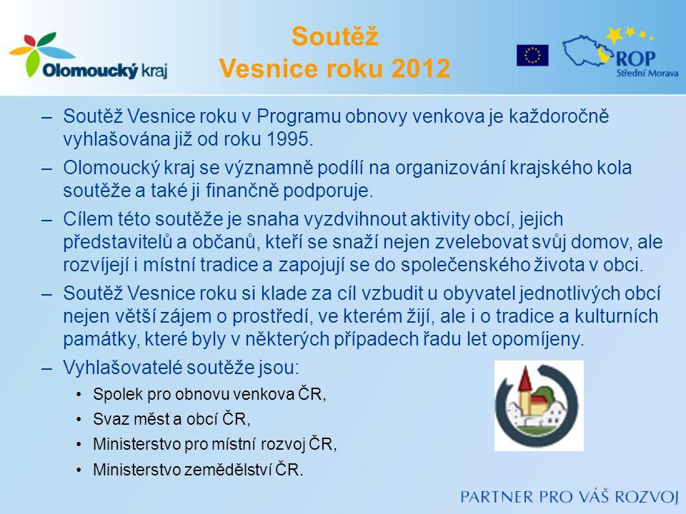 –Soutěž Vesnice roku v Programu obnovy venkova je každoročně vyhlašována již od roku 1995. –Olomoucký kraj se významně podílí na organizování krajskéh