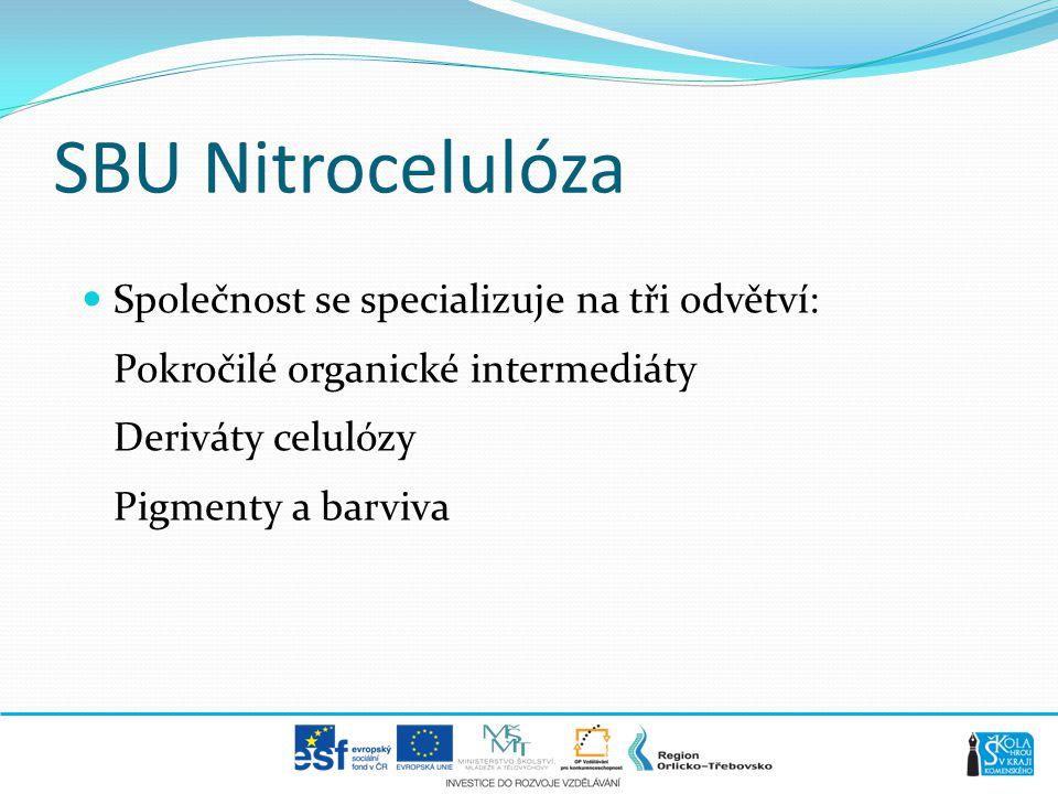 SBU Nitrocelulóza  Společnost se specializuje na tři odvětví: Pokročilé organické intermediáty Deriváty celulózy Pigmenty a barviva