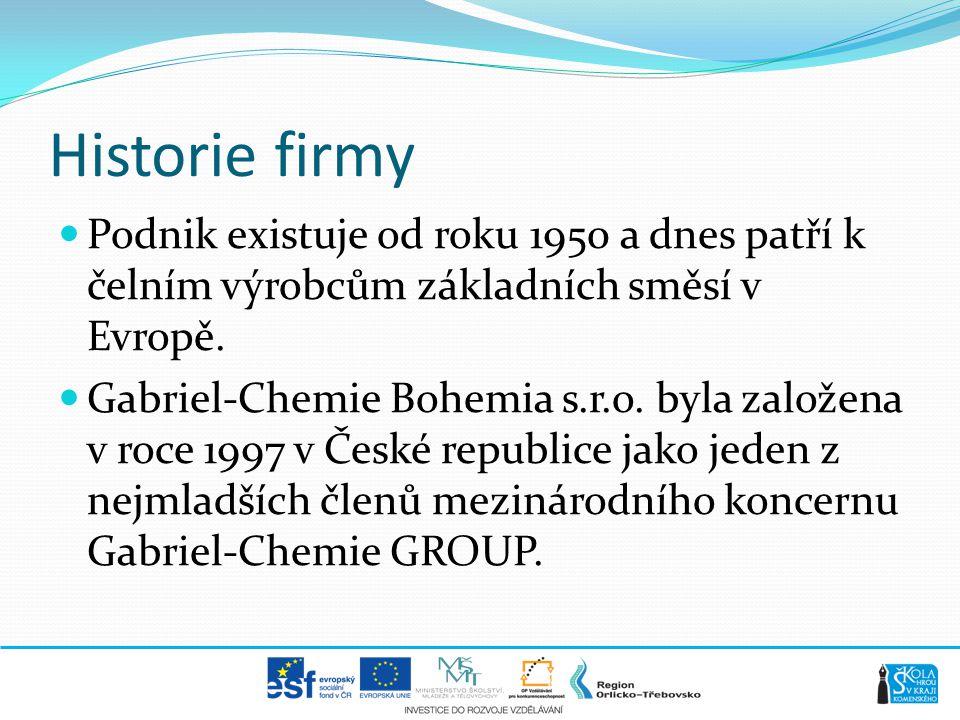 Historie firmy  Podnik existuje od roku 1950 a dnes patří k čelním výrobcům základních směsí v Evropě.  Gabriel-Chemie Bohemia s.r.o. byla založena