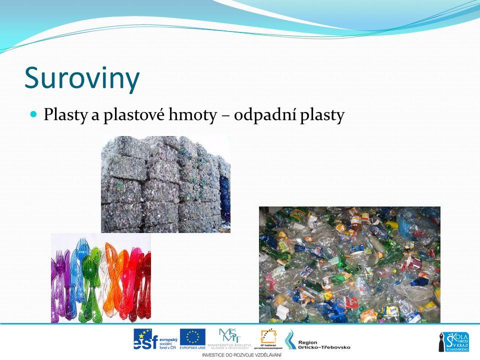 Suroviny  Plasty a plastové hmoty – odpadní plasty