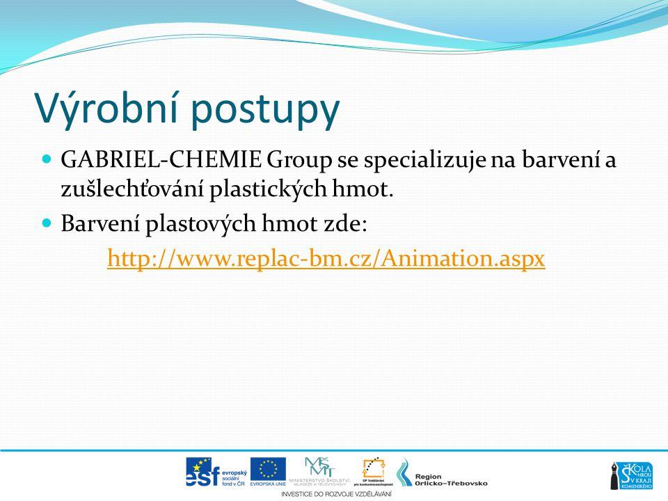 Výrobní postupy  GABRIEL-CHEMIE Group se specializuje na barvení a zušlechťování plastických hmot.  Barvení plastových hmot zde: http://www.replac-b
