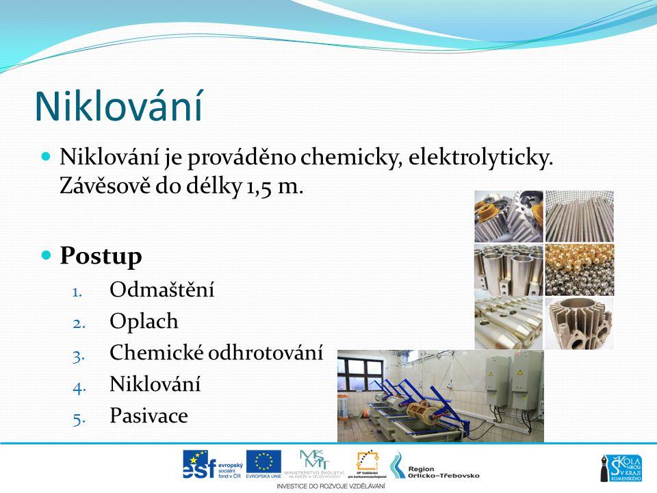Niklování  Niklování je prováděno chemicky, elektrolyticky. Závěsově do délky 1,5 m.  Postup 1. Odmaštění 2. Oplach 3. Chemické odhrotování 4. Niklo