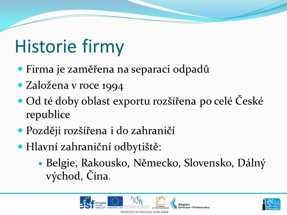 Historie firmy  Firma je zaměřena na separaci odpadů  Založena v roce 1994  Od té doby oblast exportu rozšířena po celé České republice  Později r