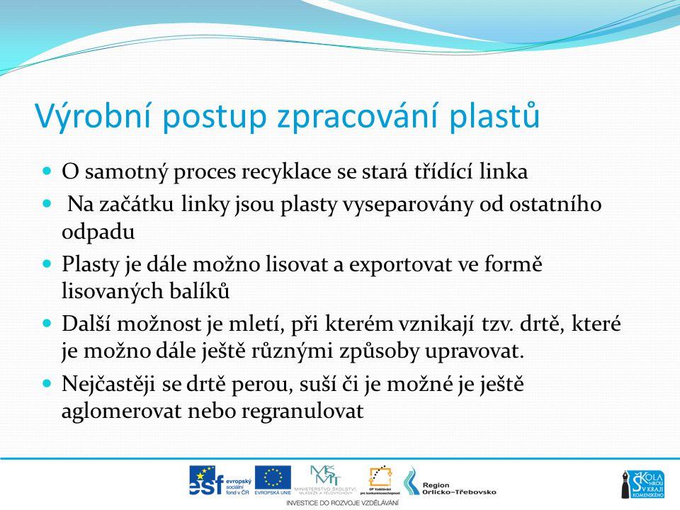 Výrobní postup zpracování plastů  O samotný proces recyklace se stará třídící linka  Na začátku linky jsou plasty vyseparovány od ostatního odpadu 