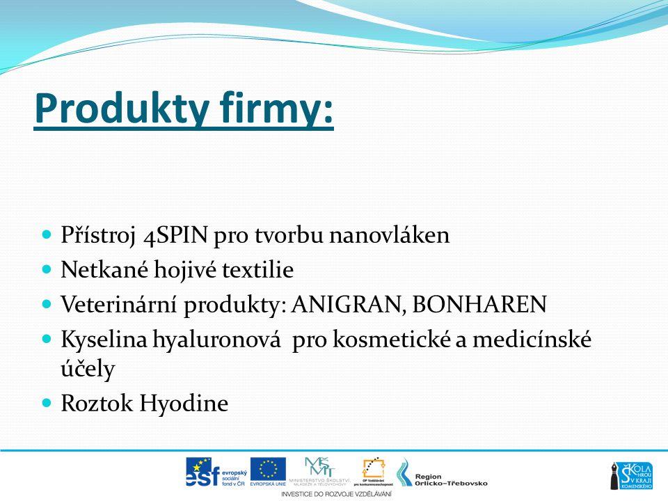 Produkty firmy:  Přístroj 4SPIN pro tvorbu nanovláken  Netkané hojivé textilie  Veterinární produkty: ANIGRAN, BONHAREN  Kyselina hyaluronová pro