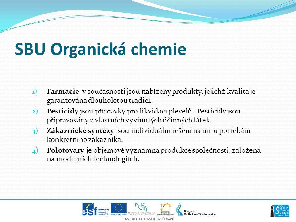 SBU Organická chemie 1) Farmacie v současnosti jsou nabízeny produkty, jejichž kvalita je garantována dlouholetou tradicí. 2) Pesticidy jsou přípravky