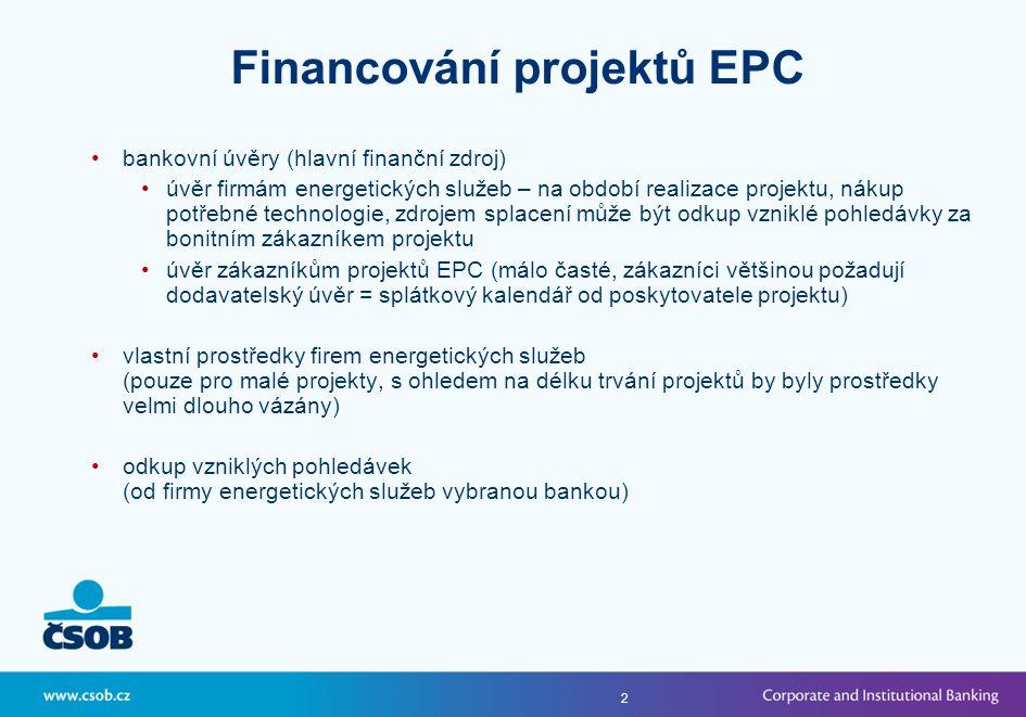 2 •bankovní úvěry (hlavní finanční zdroj) •úvěr firmám energetických služeb – na období realizace projektu, nákup potřebné technologie, zdrojem splacení může být odkup vzniklé pohledávky za bonitním zákazníkem projektu •úvěr zákazníkům projektů EPC (málo časté, zákazníci většinou požadují dodavatelský úvěr = splátkový kalendář od poskytovatele projektu) •vlastní prostředky firem energetických služeb (pouze pro malé projekty, s ohledem na délku trvání projektů by byly prostředky velmi dlouho vázány) •odkup vzniklých pohledávek (od firmy energetických služeb vybranou bankou) Financování projektů EPC