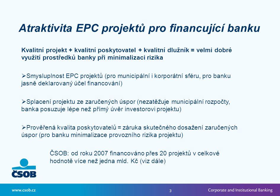 3 Kvalitní projekt + kvalitní poskytovatel + kvalitní dlužník = velmi dobré využití prostředků banky při minimalizaci rizika  Smysluplnost EPC projektů (pro municipální i korporátní sféru, pro banku jasně deklarovaný účel financování)  Splacení projektu ze zaručených úspor (nezatěžuje municipální rozpočty, banka posuzuje lépe než přímý úvěr investorovi projektu)  Prověřená kvalita poskytovatelů = záruka skutečného dosažení zaručených úspor (pro banku minimalizace provozního rizika projektu) ČSOB: od roku 2007 financováno přes 20 projektů v celkové hodnotě více než jedna mld.