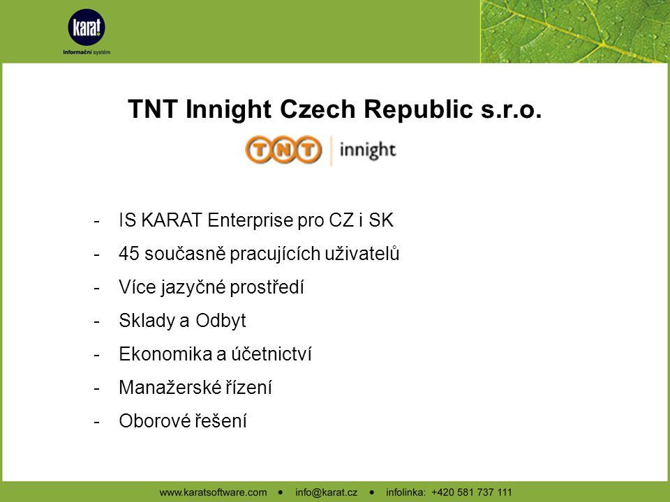 TNT Innight Czech Republic s.r.o. -Součást nadnárodní skupiny TNT Innight -Síť nočního expresu zaměřená na kritické dodávky -Denní expres pro ostatní