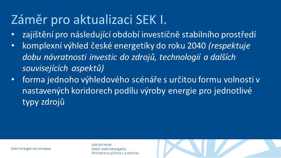 Ladislav Havel Odbor elektroenergetiky Ministerstvo průmyslu a obchodu Státní energetická koncepce Záměr pro aktualizaci SEK I. • zajištění pro násled