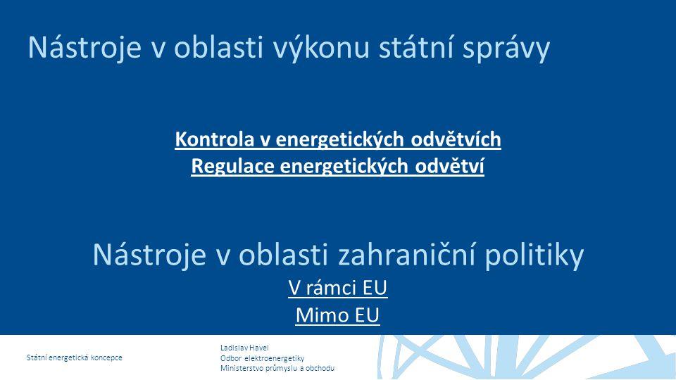Ladislav Havel Odbor elektroenergetiky Ministerstvo průmyslu a obchodu Státní energetická koncepce Nástroje v oblasti výkonu státní správy Kontrola v energetických odvětvích Regulace energetických odvětví Nástroje v oblasti zahraniční politiky V rámci EU Mimo EU