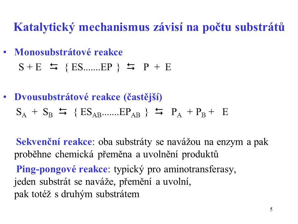 6 Sekvenční reakce: uspořádané – substráty se vážou na E v definovaném pořadí nahodilé Ping-pongové reakce: +++