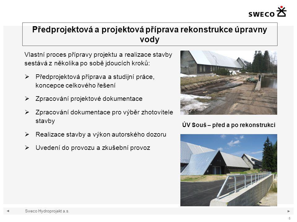 ◄ ► 6 Předprojektová příprava rekonstrukce úpravny vody Sweco Hydroprojekt a.s.