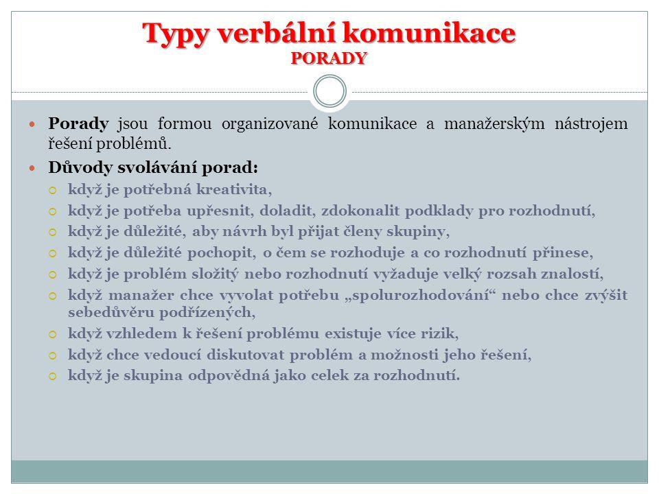 Typy verbální komunikace PORADY  Porady jsou formou organizované komunikace a manažerským nástrojem řešení problémů.  Důvody svolávání porad:  když