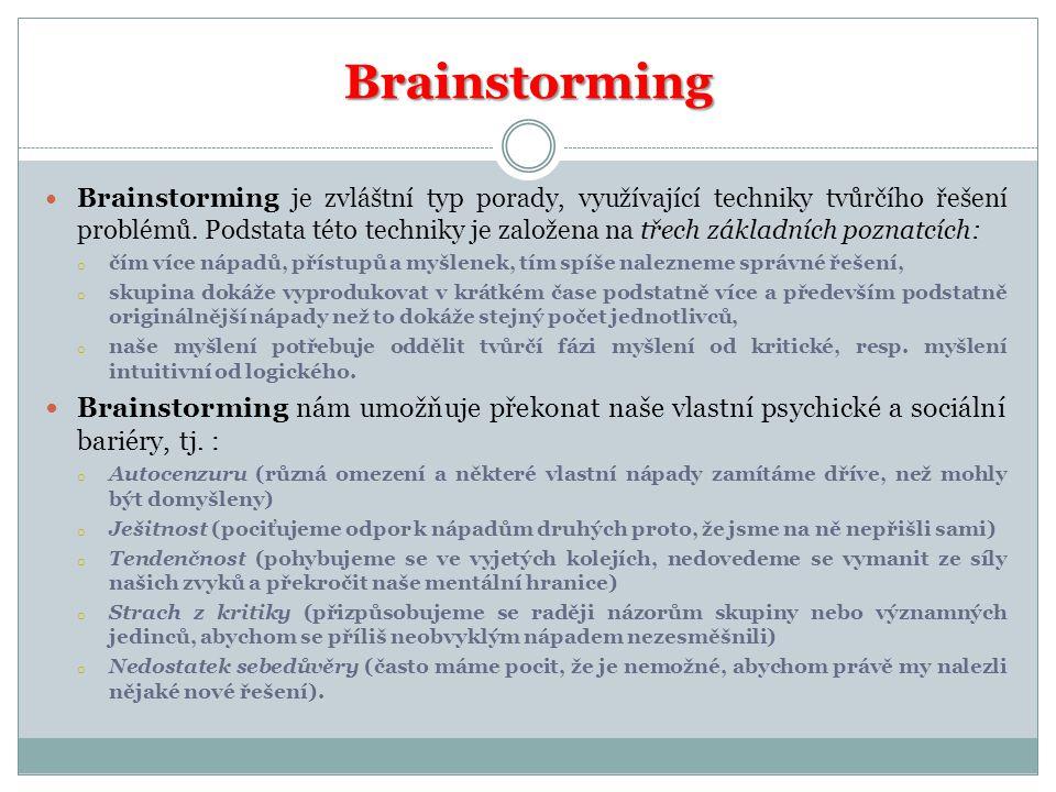 Brainstorming  Brainstorming je zvláštní typ porady, využívající techniky tvůrčího řešení problémů. Podstata této techniky je založena na třech zákla
