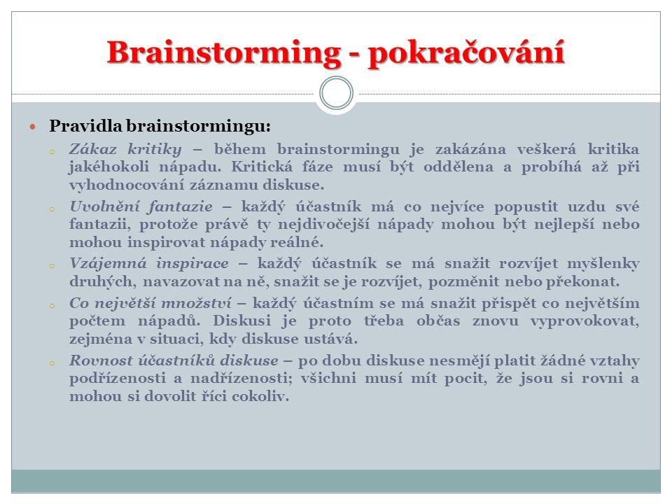 Brainstorming - pokračování  Pravidla brainstormingu: o Zákaz kritiky – během brainstormingu je zakázána veškerá kritika jakéhokoli nápadu. Kritická