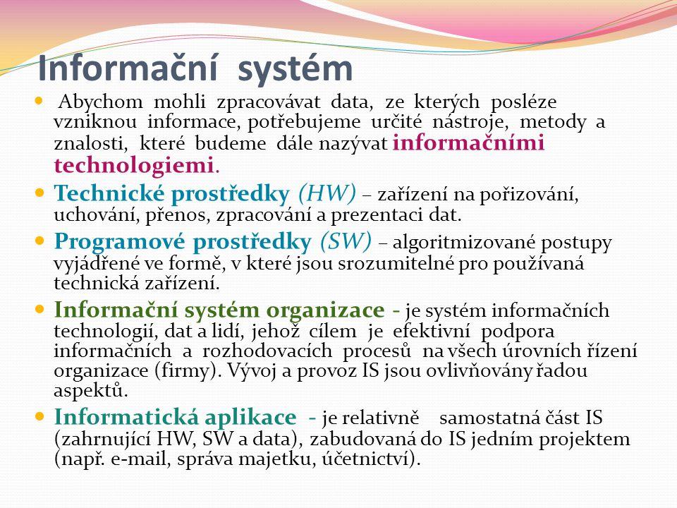 Informační systém  Abychom mohli zpracovávat data, ze kterých posléze vzniknou informace, potřebujeme určité nástroje, metody a znalosti, které budeme dále nazývat informačními technologiemi.