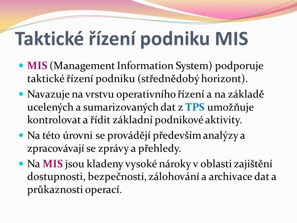 Taktické řízení podniku MIS  MIS (Management Information System) podporuje taktické řízení podniku (střednědobý horizont).