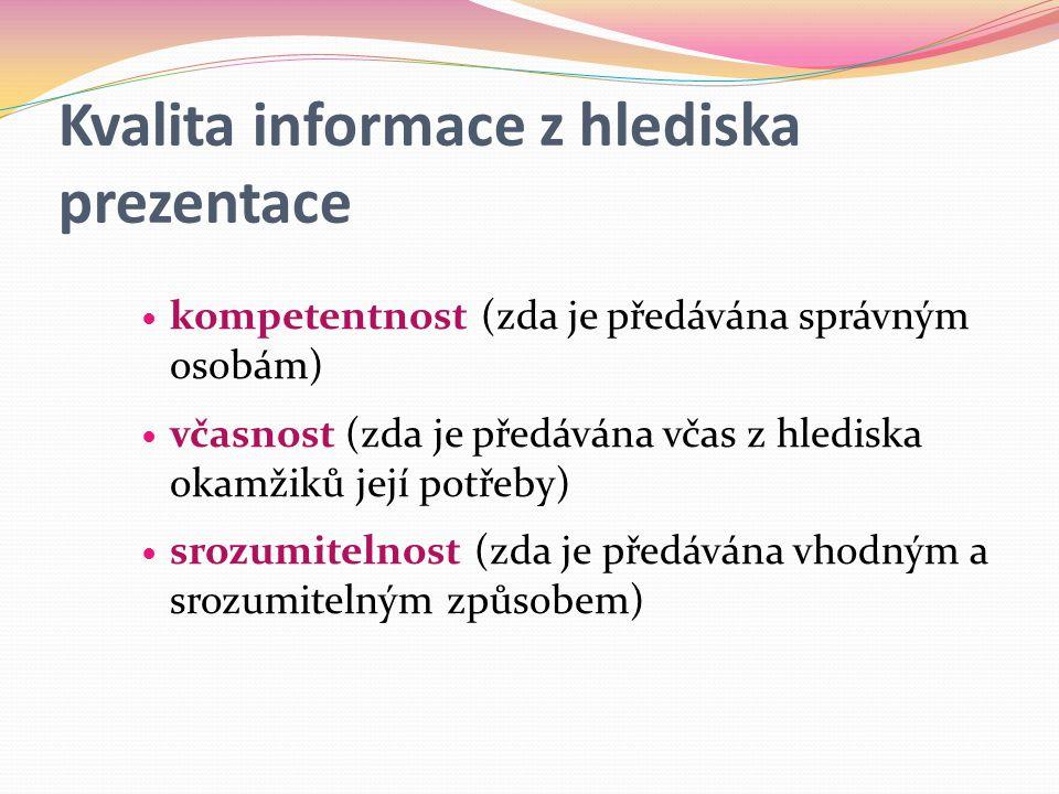 Kvalita informace z hlediska prezentace  kompetentnost (zda je předávána správným osobám)  včasnost (zda je předávána včas z hlediska okamžiků její potřeby)  srozumitelnost (zda je předávána vhodným a srozumitelným způsobem)