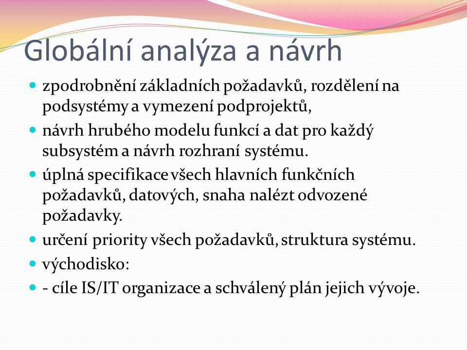 Globální analýza a návrh  zpodrobnění základních požadavků, rozdělení na podsystémy a vymezení podprojektů,  návrh hrubého modelu funkcí a dat pro každý subsystém a návrh rozhraní systému.