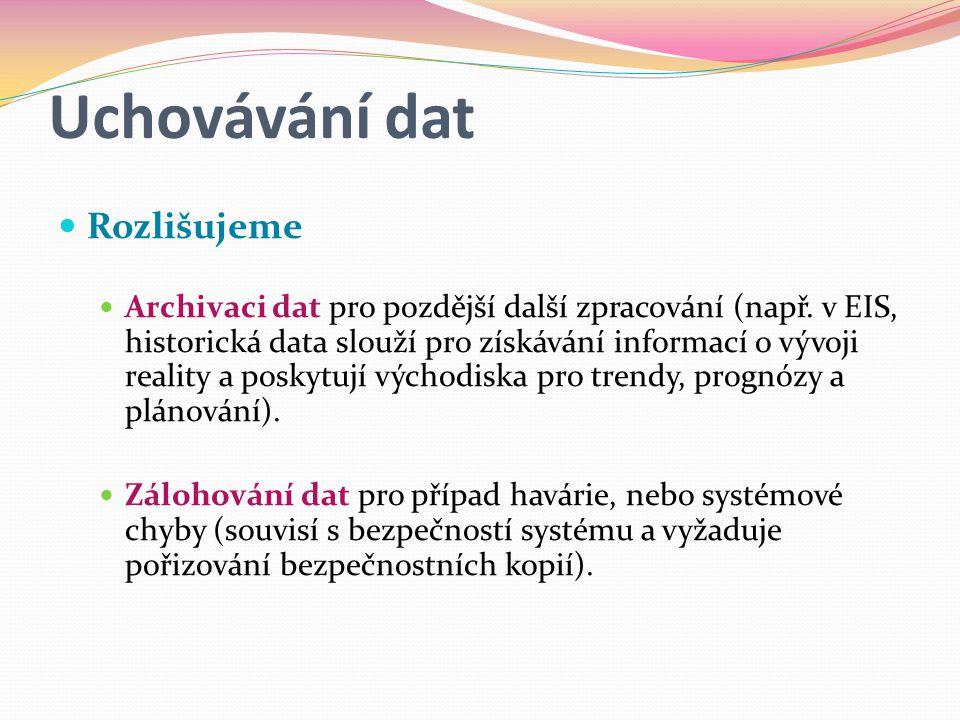 Uchovávání dat  Rozlišujeme  Archivaci dat pro pozdější další zpracování (např.