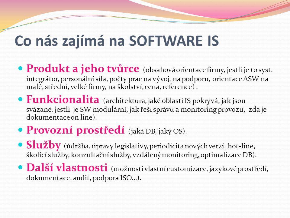 Co nás zajímá na SOFTWARE IS  Produkt a jeho tvůrce (obsahová orientace firmy, jestli je to syst.