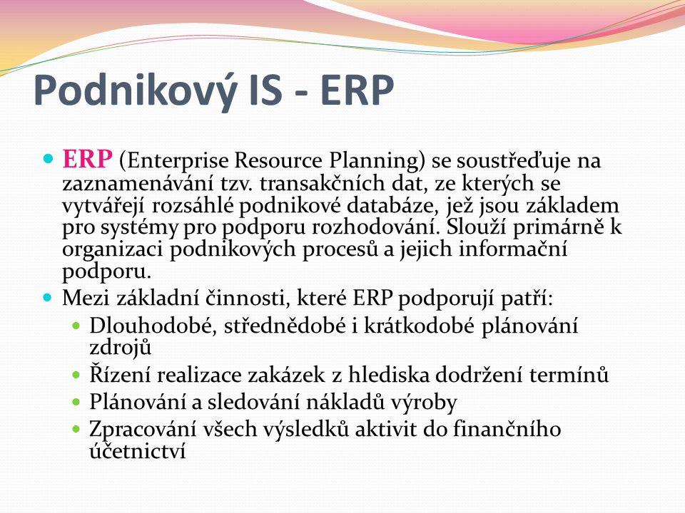 Podnikový IS - ERP  ERP (Enterprise Resource Planning) se soustřeďuje na zaznamenávání tzv.