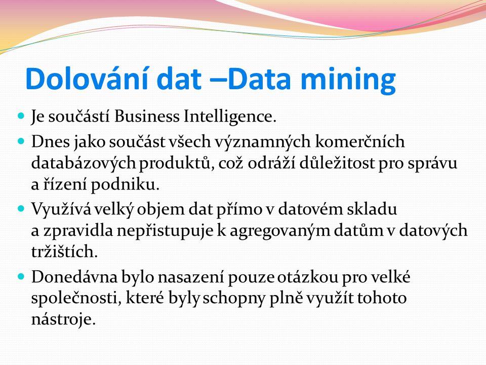 Dolování dat –Data mining  Je součástí Business Intelligence.