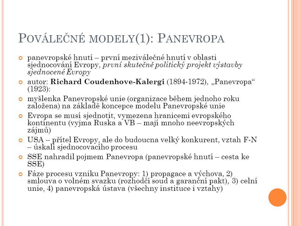 """P OVÁLEČNÉ MODELY (1): P ANEVROPA panevropské hnutí – první meziválečné hnutí v oblasti sjednocování Evropy, první skutečně politický projekt výstavby sjednocené Evropy autor: Richard Coudenhove-Kalergi (1894-1972), """"Panevropa (1923): myšlenka Panevropské unie (organizace během jednoho roku založena) na základě koncepce modelu Panevropské unie Evropa se musí sjednotit, vymezena hranicemi evropského kontinentu (vyjma Ruska a VB – mají mnoho neevropských zájmů) USA – přítel Evropy, ale do budoucna velký konkurent, vztah F-N – úskalí sjednocovacího procesu SSE nahradil pojmem Panevropa (panevropské hnutí – cesta ke SSE) Fáze procesu vzniku Panevropy: 1) propagace a výchova, 2) smlouva o volném svazku (rozhodčí soud a garanční pakt), 3) celní unie, 4) panevropská ústava (všechny instituce i vztahy)"""