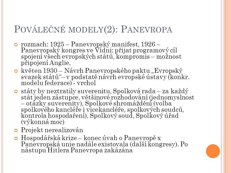 """P OVÁLEČNÉ MODELY (2): P ANEVROPA rozmach: 1925 – Panevropský manifest, 1926 – Panevropský kongres ve Vídni: přijat programový cíl spojení všech evropských států, kompromis – možnost připojení Anglie, květen 1930 – Návrh Panevropského paktu """"Evropský svazek států – v podstatě návrh evropské ústavy (konkr."""