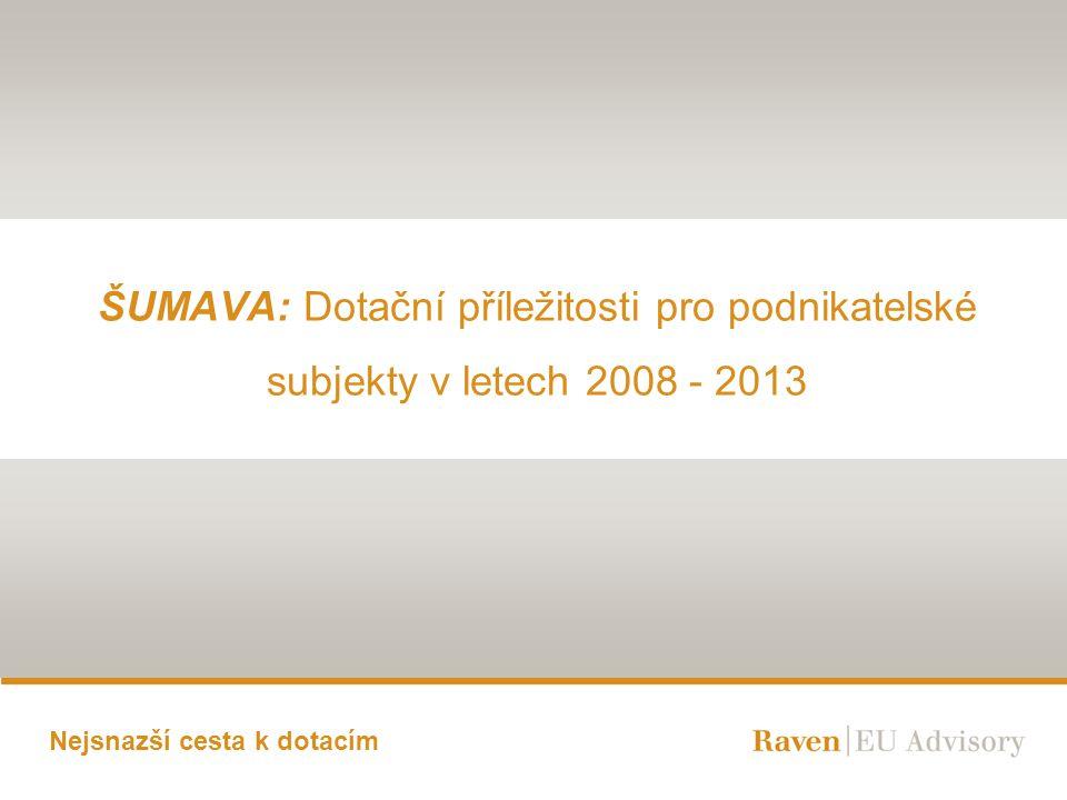 Nejsnazší cesta k dotacím ŠUMAVA: Dotační příležitosti pro podnikatelské subjekty v letech 2008 - 2013