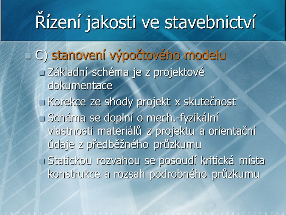 Řízení jakosti ve stavebnictví  C) stanovení výpočtového modelu  Základní schéma je z projektové dokumentace  Korekce ze shody projekt x skutečnost