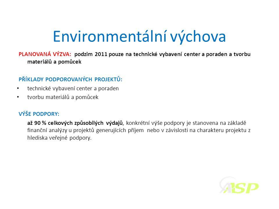 Environmentální výchova PLANOVANÁ VÝZVA: podzim 2011 pouze na technické vybavení center a poraden a tvorbu materiálů a pomůcek PŘÍKLADY PODPOROVANÝCH PROJEKTŮ: • technické vybavení center a poraden • tvorbu materiálů a pomůcek VÝŠE PODPORY: až 90 % celkových způsobilých výdajů, konkrétní výše podpory je stanovena na základě finanční analýzy u projektů generujících příjem nebo v závislosti na charakteru projektu z hlediska veřejné podpory.