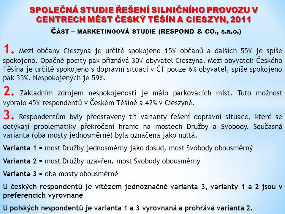 SPOLEČNÁ STUDIE ŘEŠENÍ SILNIČNÍHO PROVOZU V CENTRECH MĚST ČESKÝ TĚŠÍN A CIESZYN, 2011 Č ÁST – MARKETINGOVÁ STUDIE (RESPOND & CO., S. R. O.) 1. Mezi ob