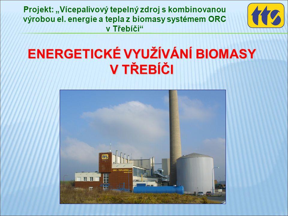 """ENERGETICKÉ VYUŽÍVÁNÍ BIOMASY V TŘEBÍČI Projekt: """"Vícepalivový tepelný zdroj s kombinovanou výrobou el. energie a tepla z biomasy systémem ORC v Třebí"""