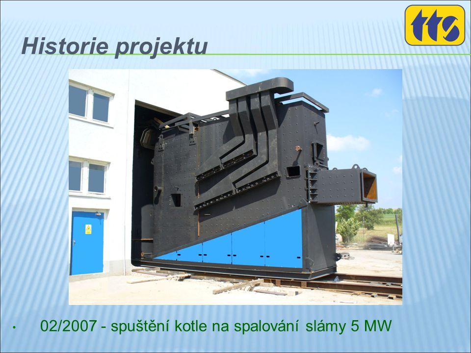 Historie projektu • 02/2007 - spuštění kotle na spalování slámy 5 MW