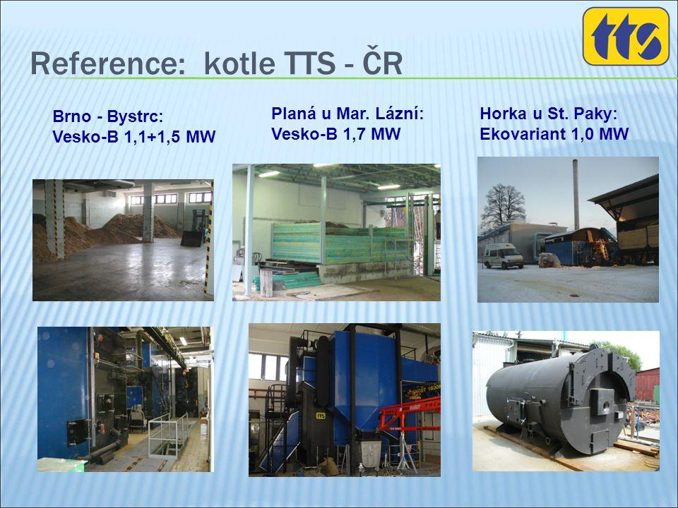 Reference: kotle TTS - ČR Horka u St. Paky: Ekovariant 1,0 MW Planá u Mar. Lázní: Vesko-B 1,7 MW Brno - Bystrc: Vesko-B 1,1+1,5 MW