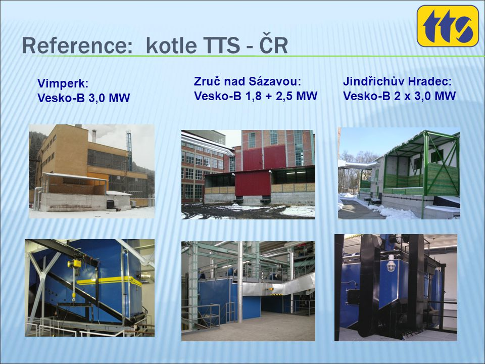 Reference: kotle TTS - ČR Jindřichův Hradec: Vesko-B 2 x 3,0 MW Zruč nad Sázavou: Vesko-B 1,8 + 2,5 MW Vimperk: Vesko-B 3,0 MW