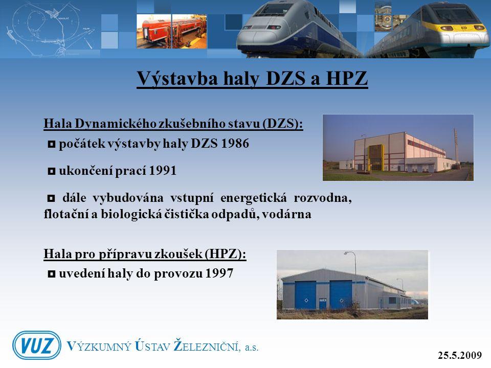 Hala Dynamického zkušebního stavu (DZS):  počátek výstavby haly DZS 1986  ukončení prací 1991  dále vybudována vstupní energetická rozvodna, flotač