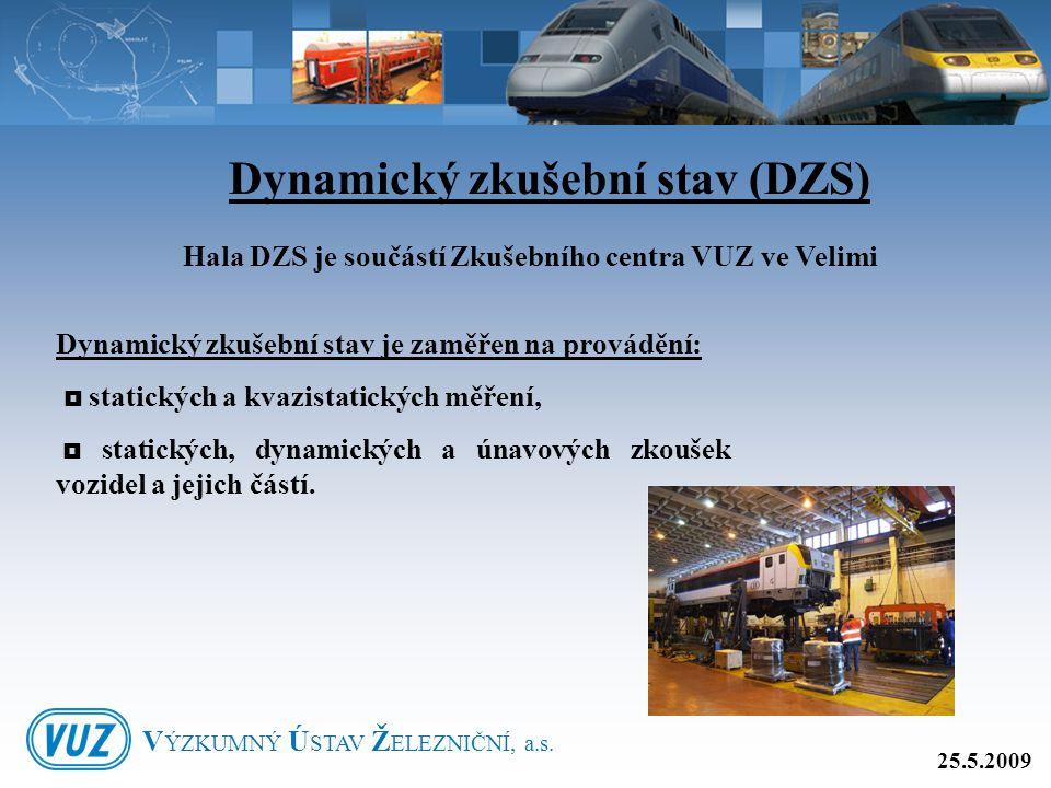 Dynamický zkušební stav (DZS) Hala DZS je součástí Zkušebního centra VUZ ve Velimi Dynamický zkušební stav je zaměřen na provádění:  statických a kva