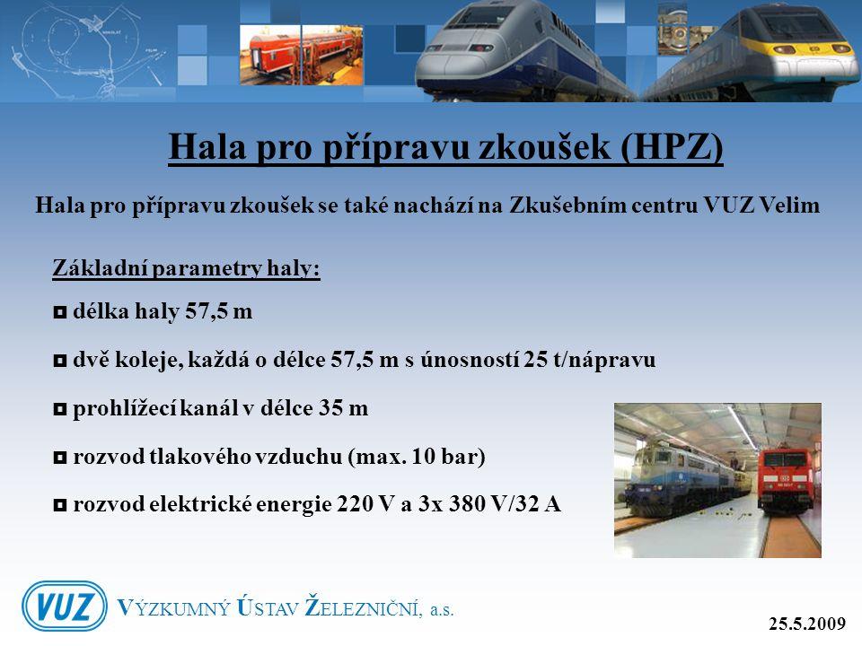 Hala pro přípravu zkoušek (HPZ) Hala pro přípravu zkoušek se také nachází na Zkušebním centru VUZ Velim Základní parametry haly:  délka haly 57,5 m 